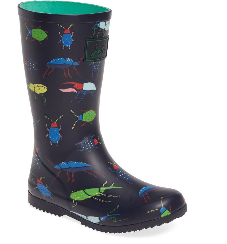 JOULES Roll Up Waterproof Rain Boot, Main, color, NAVY BEETLE
