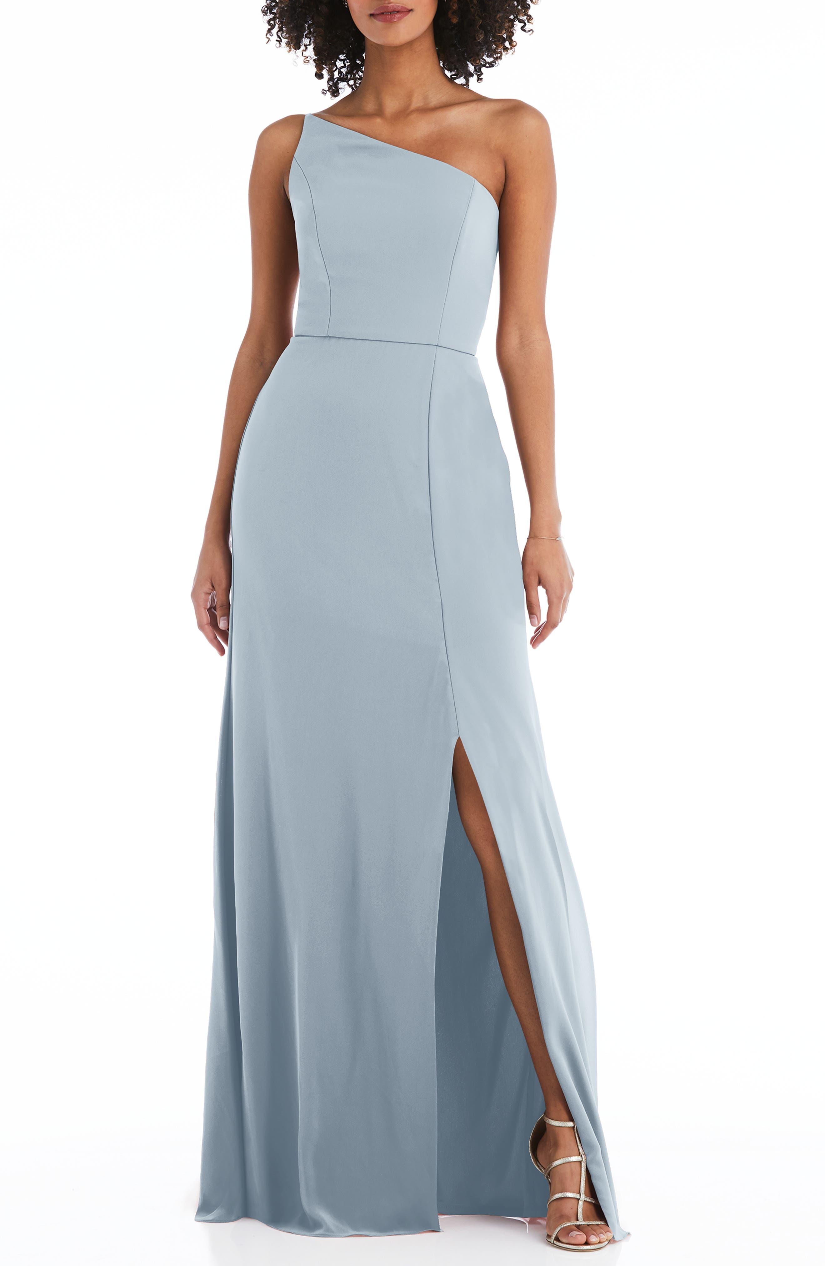 One-Shoulder Crepe Trumpet Gown