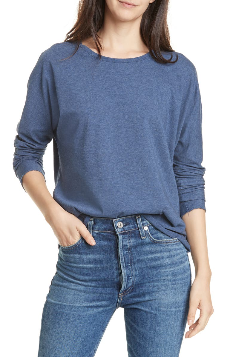 FRANK & EILEEN Continuous Long Sleeve Cotton Jersey Tee, Main, color, INDIGO MELANGE