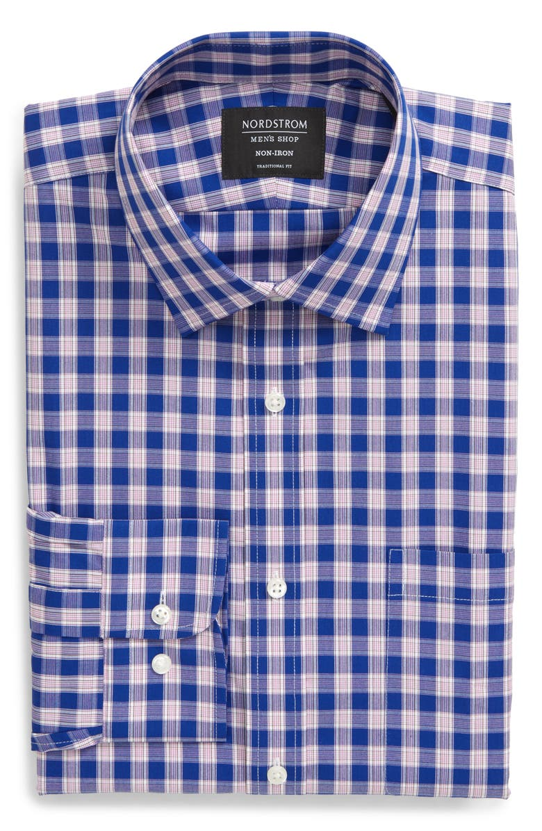 NORDSTROM MEN'S SHOP Traditional Fit Non-Iron Check Dress Shirt, Main, color, BLUE MAZARINE