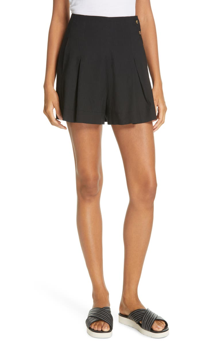 VINCE Pleat Front Shorts, Main, color, BLACK