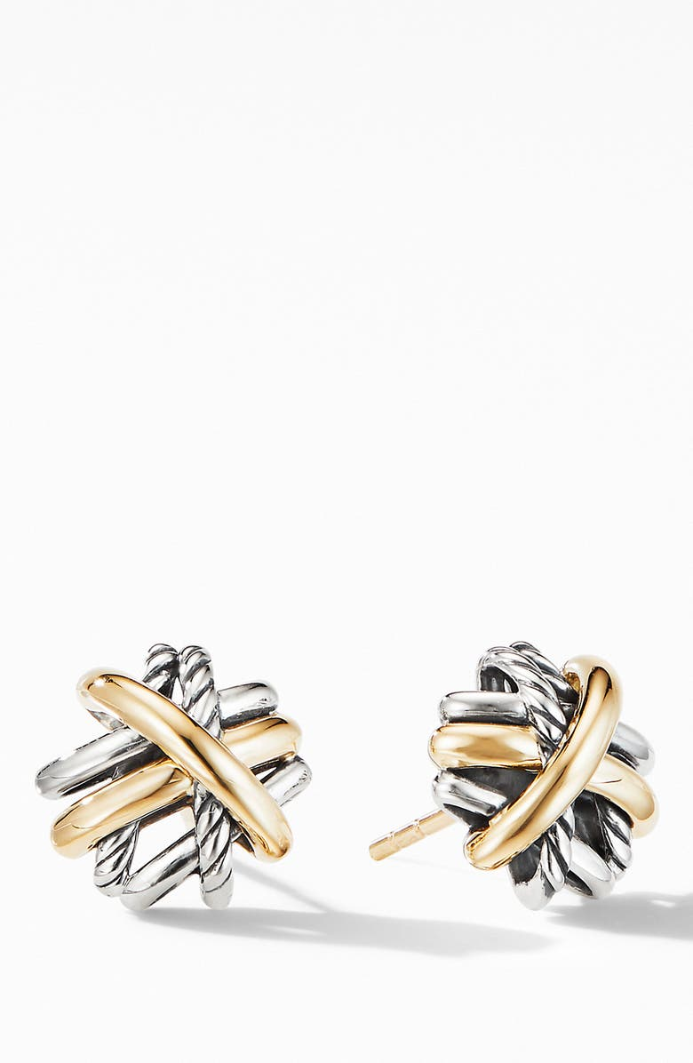 DAVID YURMAN Crossover Stud Earrings with 18K Yellow Gold, Main, color, 040