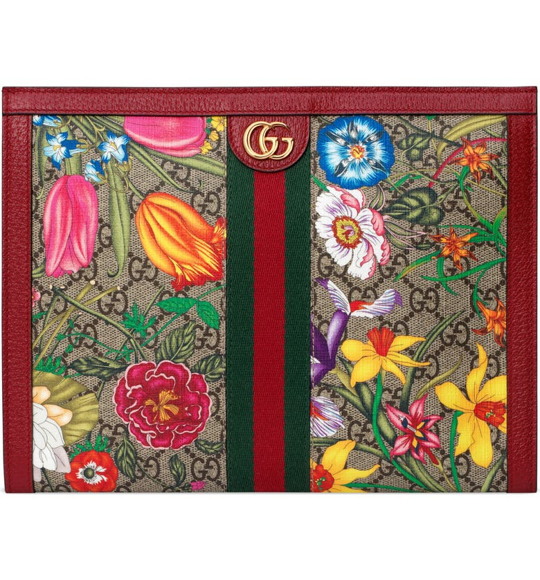 GUCCI Ophidia Floral GG Supreme Canvas Pouch, Main, color, 250