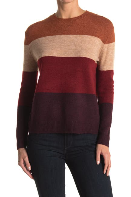 Image of BeachLunchLounge Paulette Colorblock Stripe Crew Neck Sweater