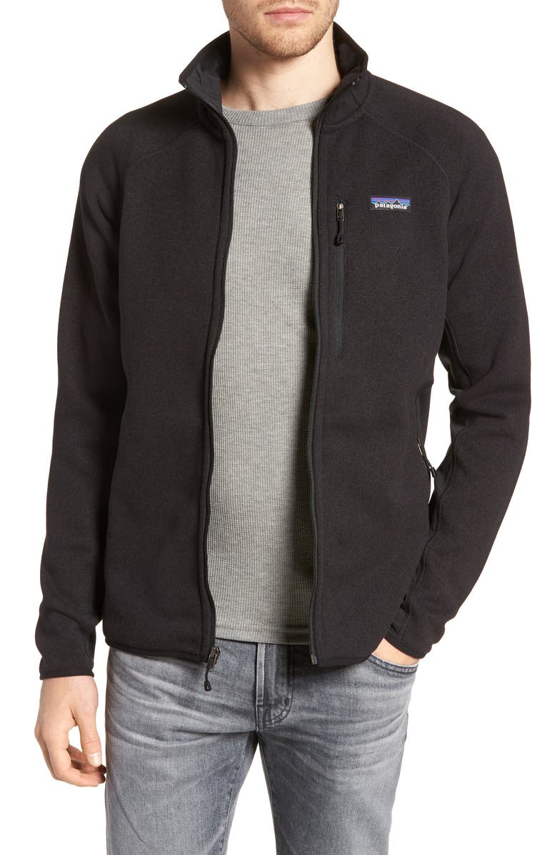 PATAGONIA Better Sweater<sup>®</sup> Performance Slim Fit Zip Jacket, Main, color, BLK