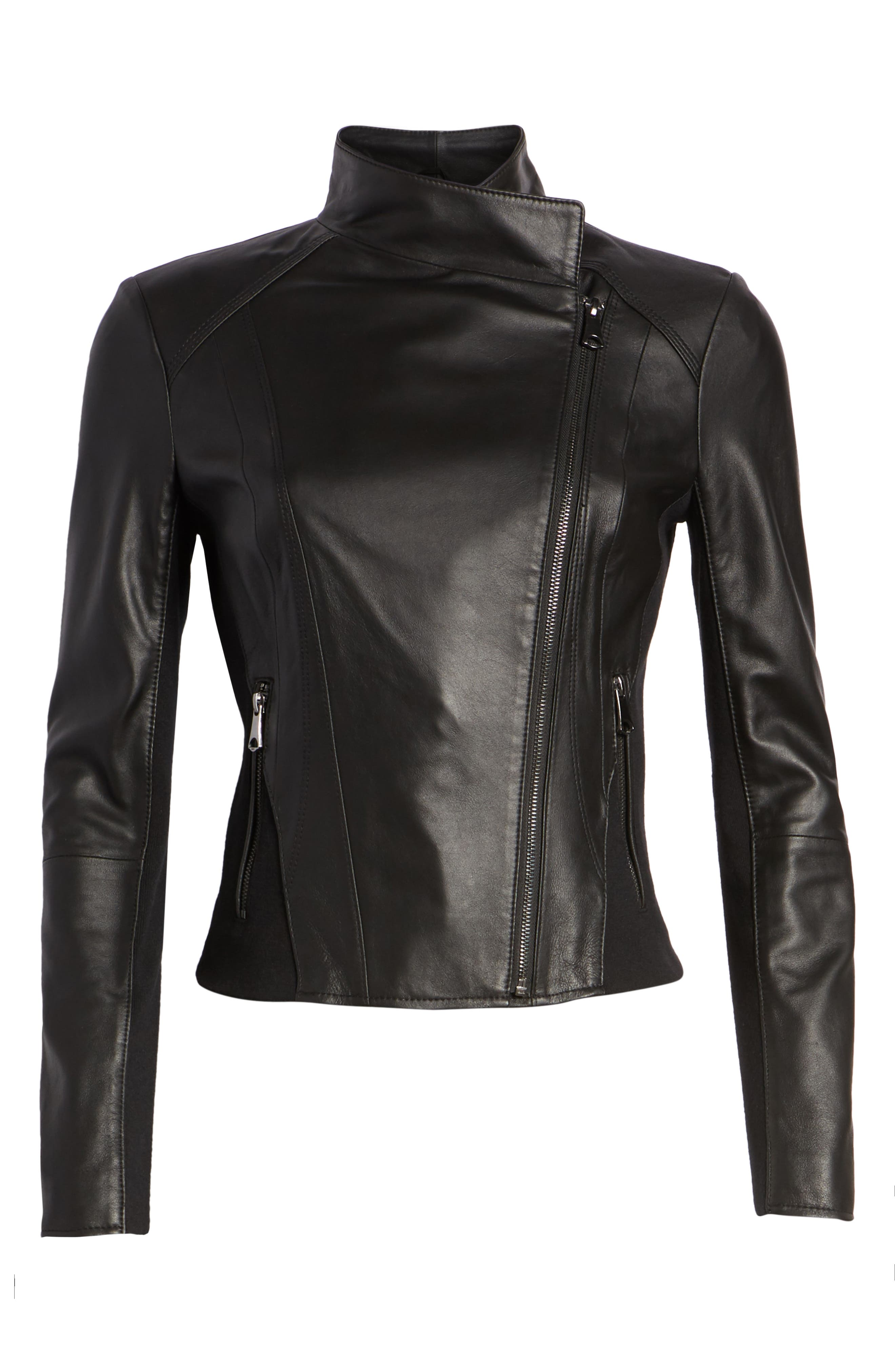 ,                             Marc New York by Andrew Marc Felix Stand Collar Leather Jacket,                             Alternate thumbnail 7, color,                             BLACK