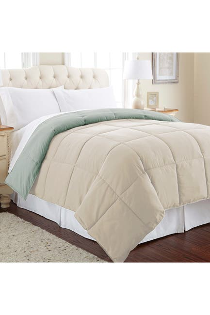 Image of Modern Threads Down Alternative Reversible King Comforter - Dusty Sage/Almond