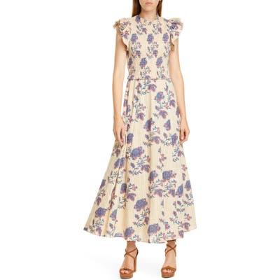Sea Odette Floral Flutter Sleeve Midi Dress, Ivory