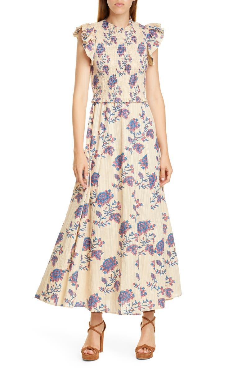 SEA Odette Floral Flutter Sleeve Midi Dress, Main, color, TEA