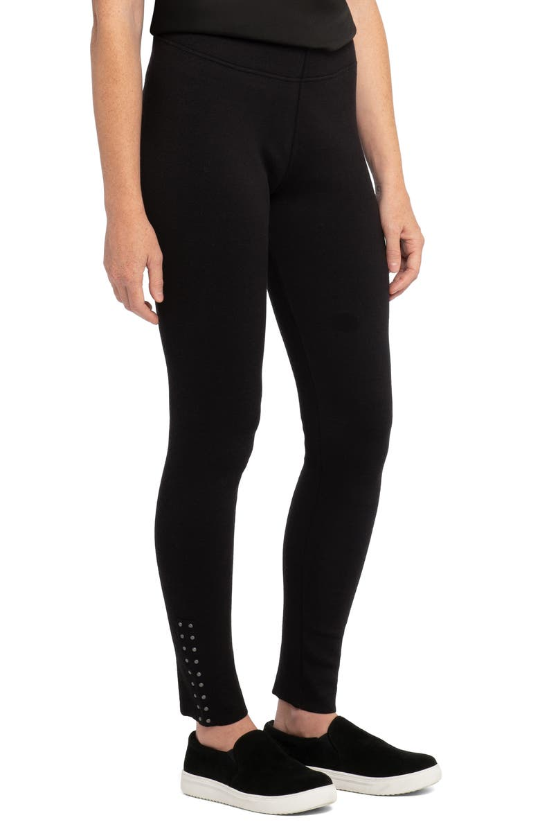 NIC+ZOE Studded Leggings, Main, color, BLACK ONYX
