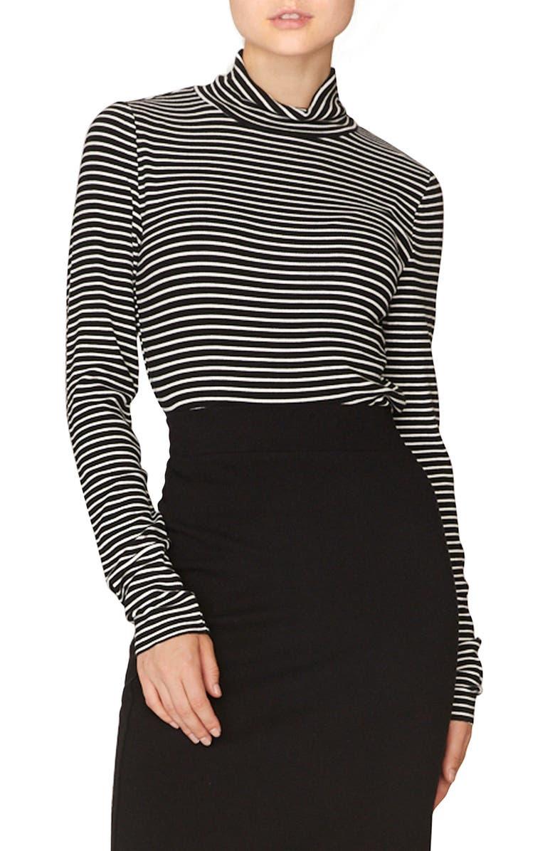 SANCTUARY Stripe Mock Neck Top, Main, color, 006