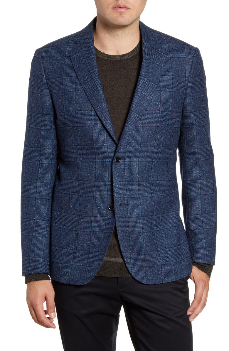NORDSTROM SIGNATURE Trim Fit Plaid Wool & Silk Sport Coat, Main, color, BLUE CERAMIC NAVY CHECK