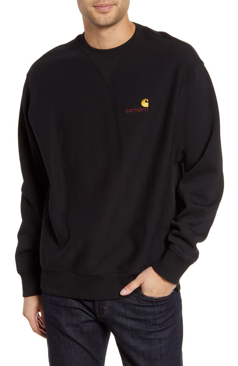 CARHARTT WORK IN PROGRESS American Script Crewneck Sweatshirt, Main, color, 001