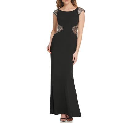 Vince Camuto Beaded Cap Sleeve Gown, Black