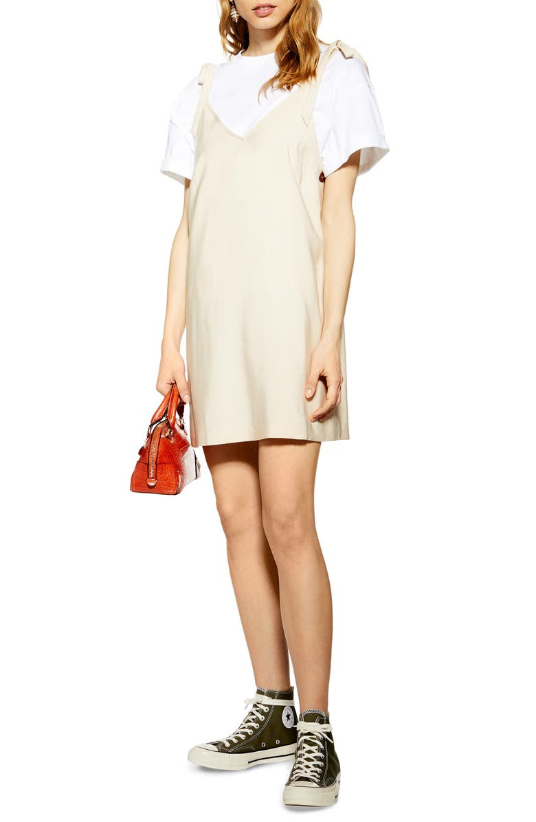 TOPSHOP Tilda Button Mini Slipdress, Main, color, 250