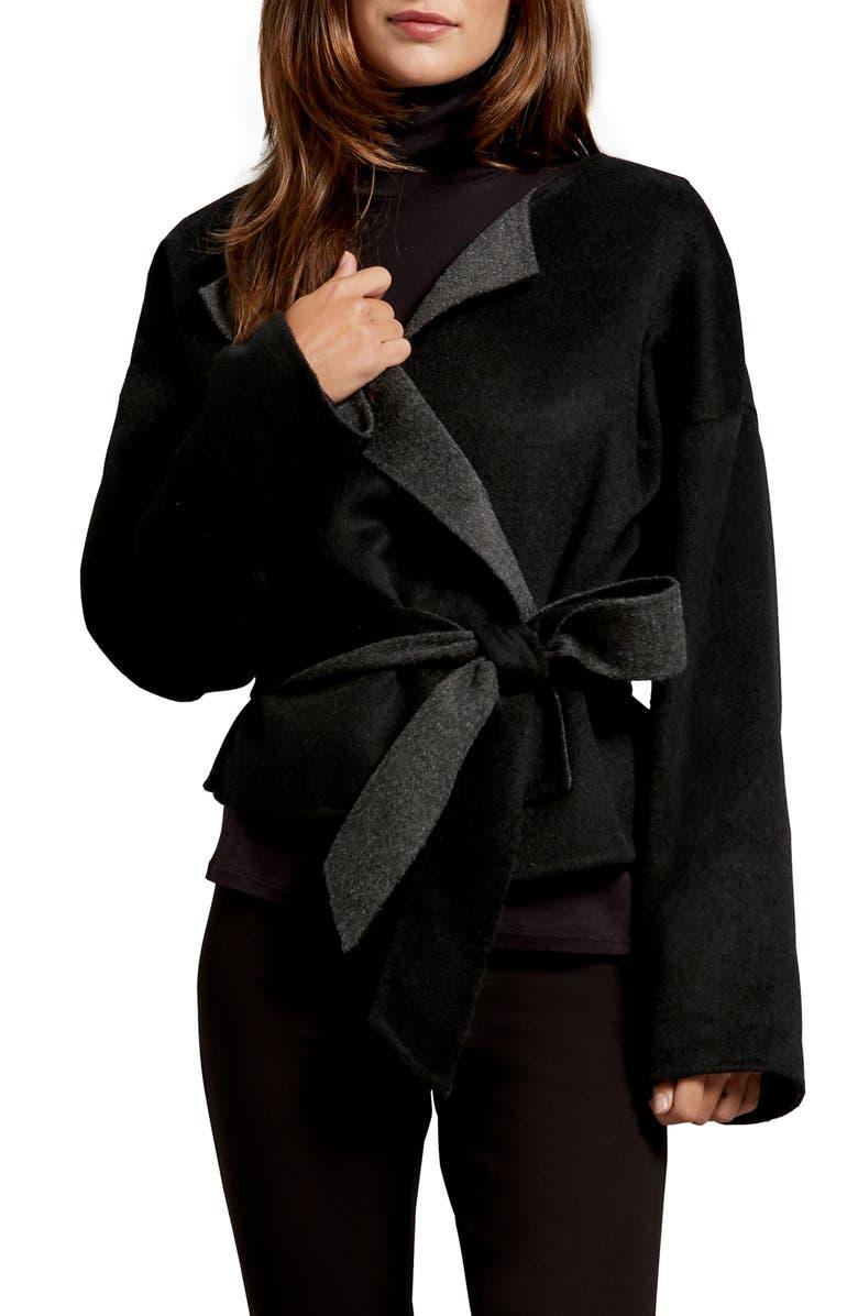 MICHAEL STARS Laura Portola Double Face Wool Blend Jacket, Main, color, CHARCOAL/ BLACK