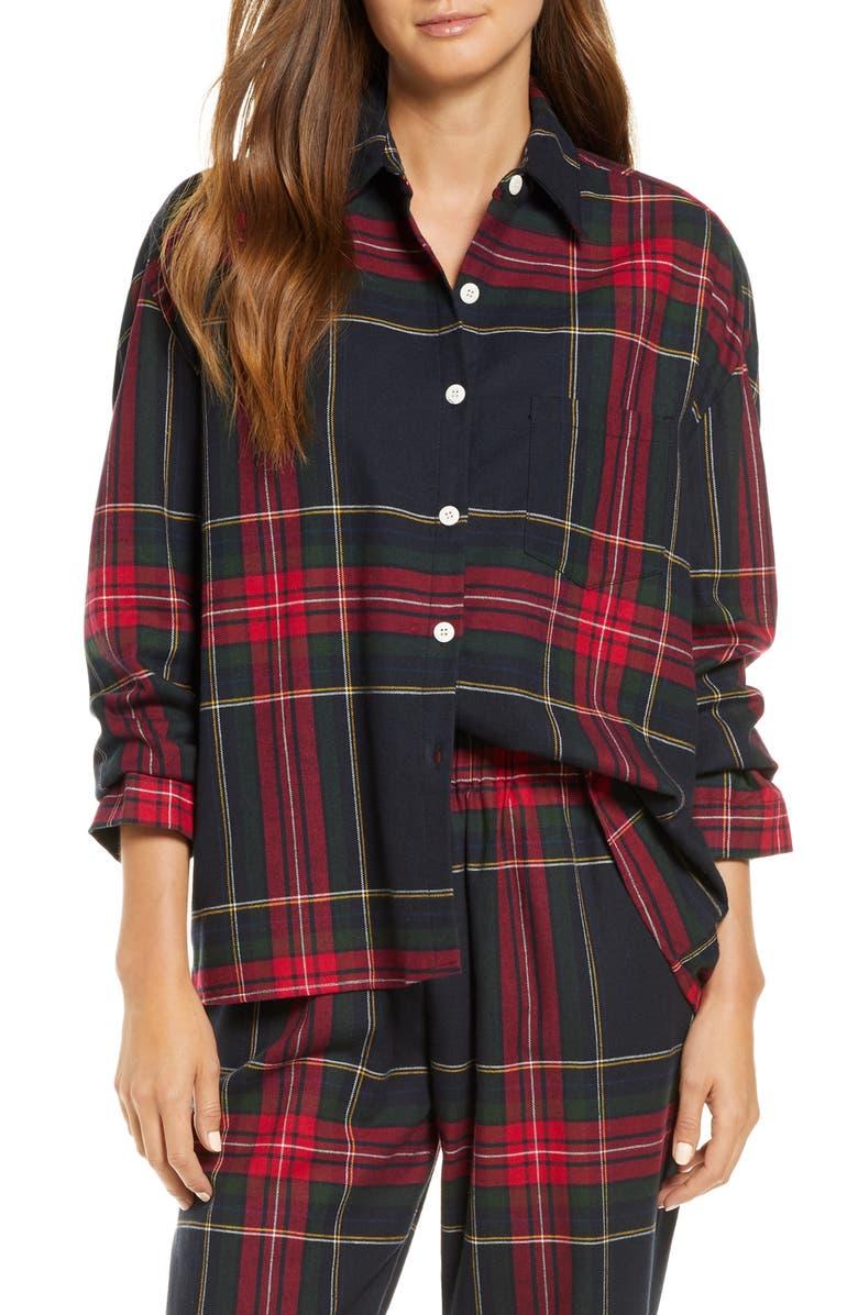 MAISON DU SOIR Hendricks Plaid Pajama Shirt, Main, color, TARTAN PLAID