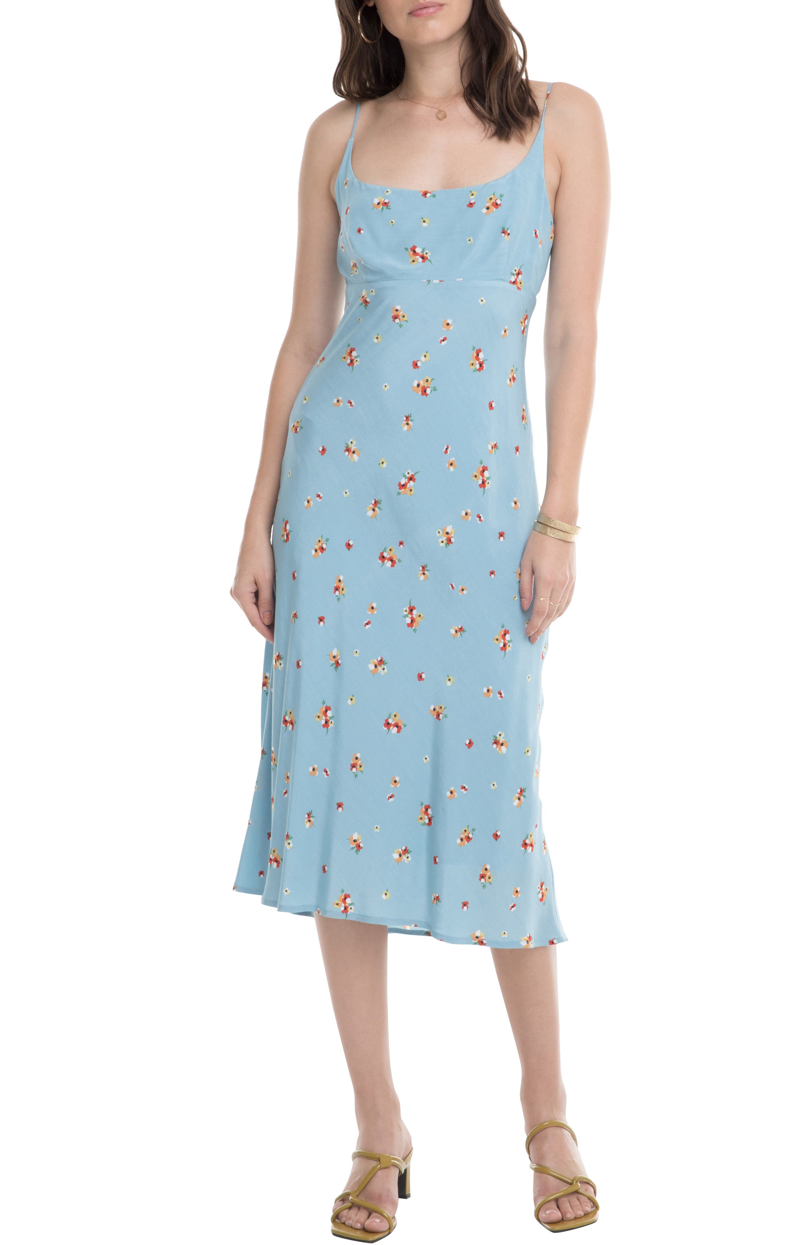 Astr The Label Joan Scoop Neck Midi Dress, Blue
