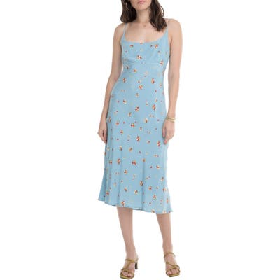 Astr The Label Joan Scoop Neck Midi Dress, Blue