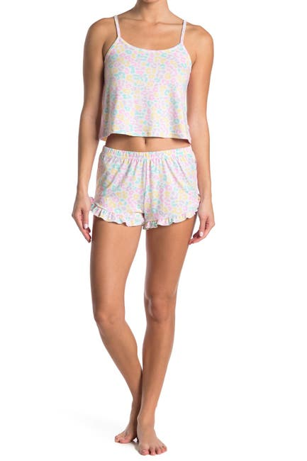 Image of FRENCH AFFAIR Rainbow Leopard Tank & Shorts 2-Piece Pajama Set