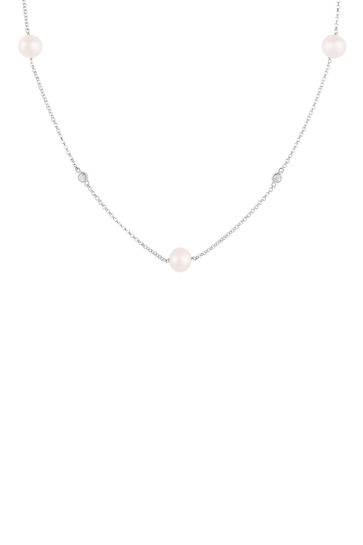 Image of Splendid Pearls CZ & Pearl Station Necklace