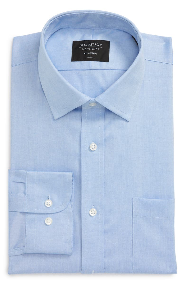 NORDSTROM MEN'S SHOP Trim Fit Non-Iron Dress Shirt, Main, color, BLUE AZURITE