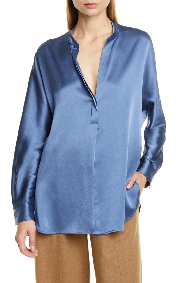 VINCE Band Collar Silk Shirt, Main, color, AZURITE