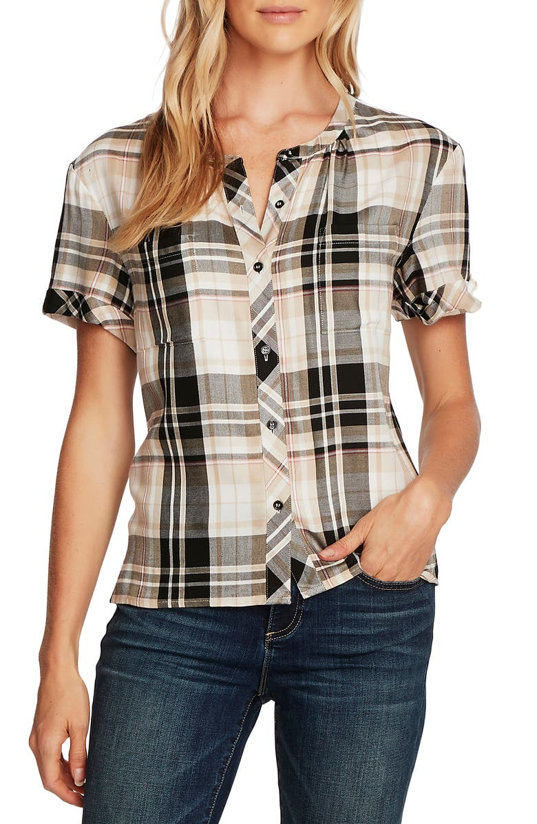 VINCE CAMUTO Roll Cuff Plaid Shirt, Main, color, RICH BLACK