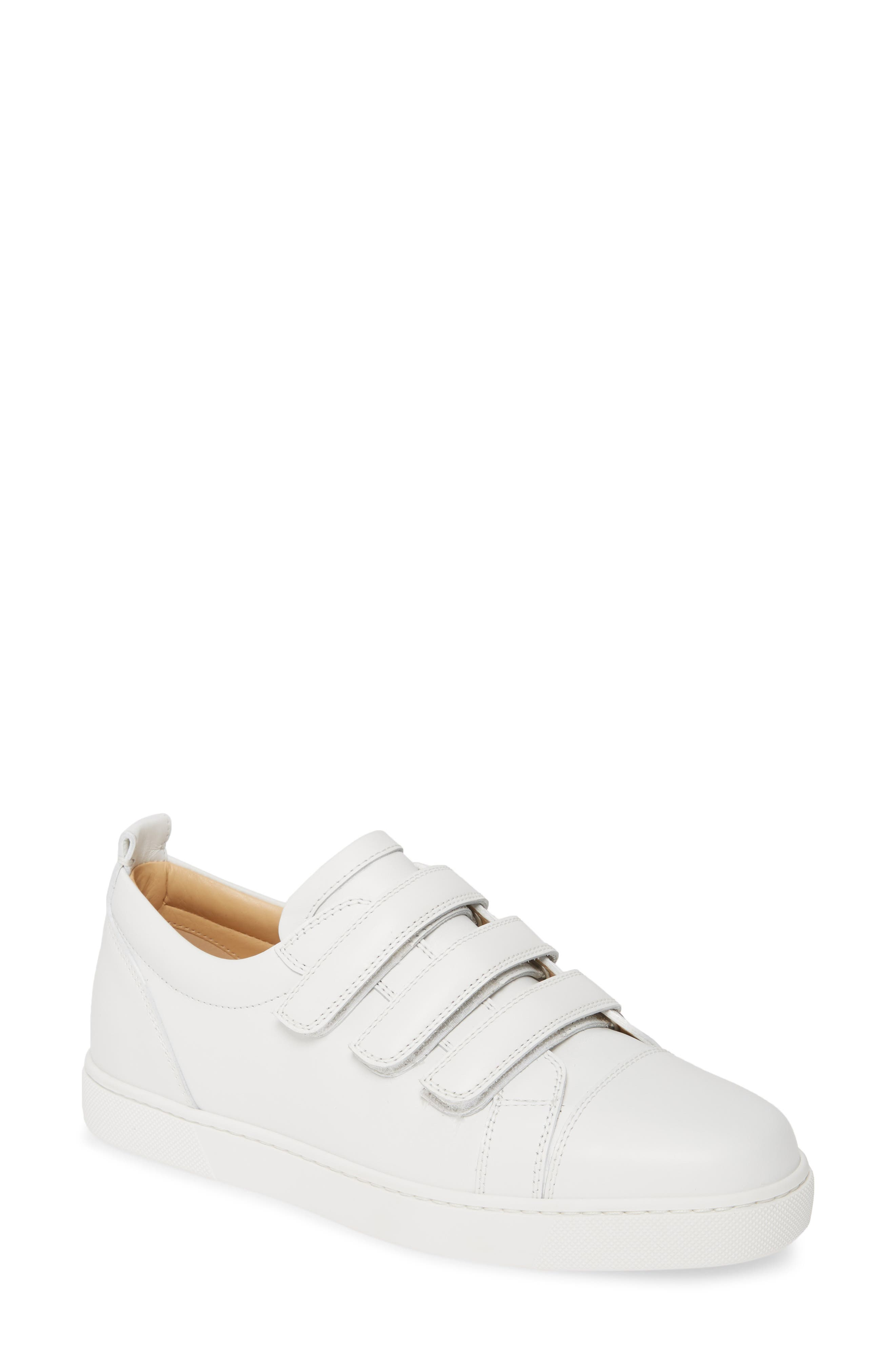 Christian Louboutin Kiddo Donna Three Strap Leather Sneakers, White