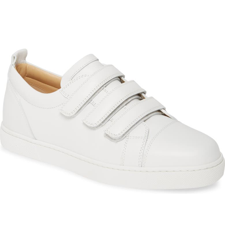 CHRISTIAN LOUBOUTIN Kiddo Donna Three Strap Leather Sneakers, Main, color, WHITE