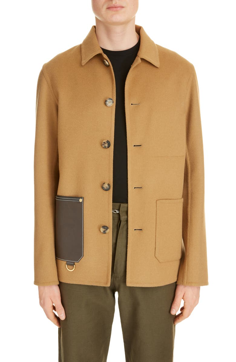 LOEWE Wool & Cashmere Button-Up Jacket, Main, color, CAMEL