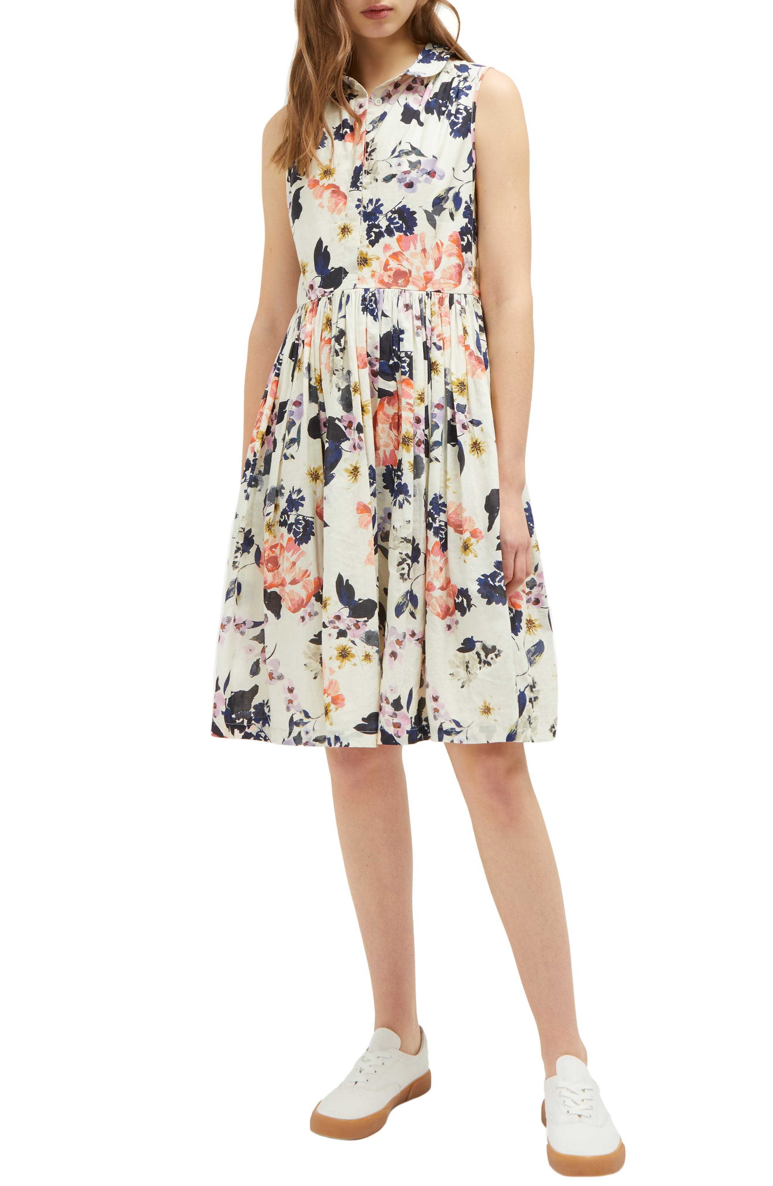 French Connection Acaena Cotton Voile Fit & Flare Dress, Ivory