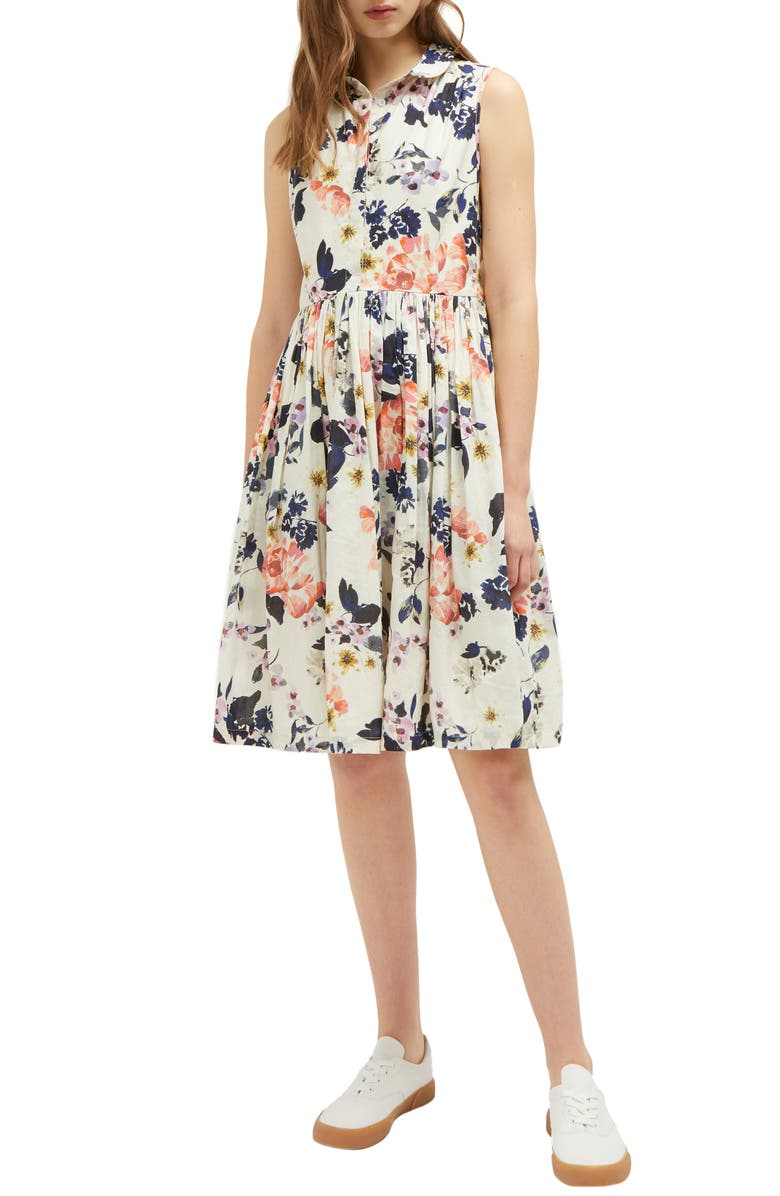 FRENCH CONNECTION Acaena Cotton Voile Fit & Flare Dress, Main, color, CLASSIC CREAM MULTI