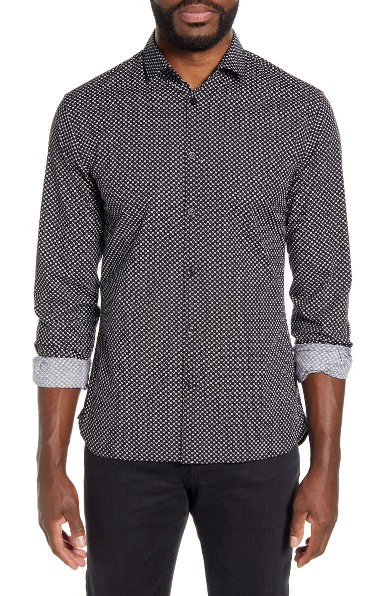 JOHN VARVATOS STAR USA Fulton Slim Fit Button-Up Shirt, Main, color, 001