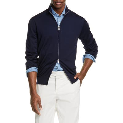 Brunello Cucinelli Fine Gauge Wool & Cashmere Zip Cardigan Blue