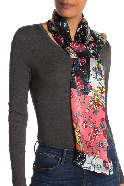 Image of Vince Camuto Colorblock Floral Silk Oblong Scarf