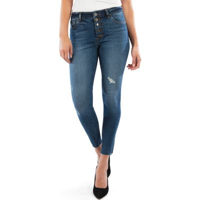 Kut From The Kloth Donna Button Fly High Waist Raw Hem Ankle Skinny Jeans, Blue