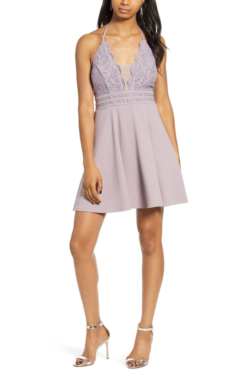 SPEECHLESS Halter Neck Lace & Scuba Crepe Minidress, Main, color, DARK LILAC