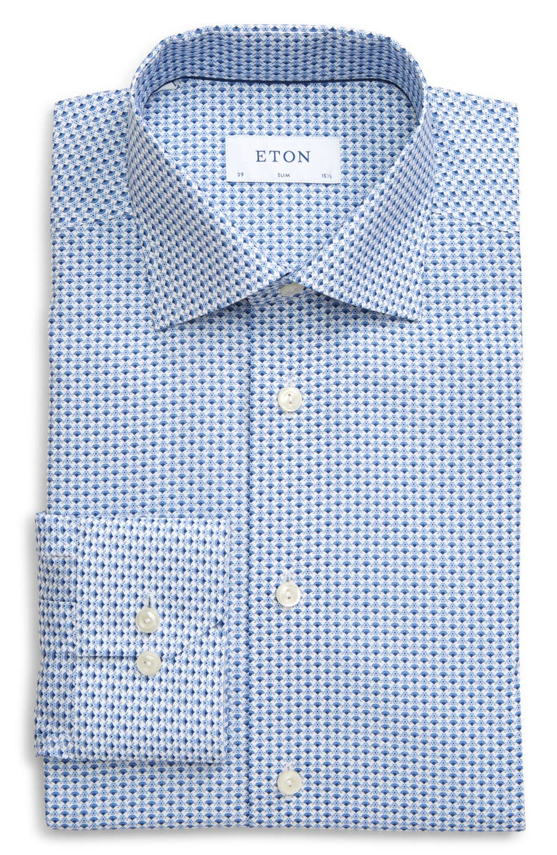 ETON Slim Fit Floral Dress Shirt, Main, color, BLUE