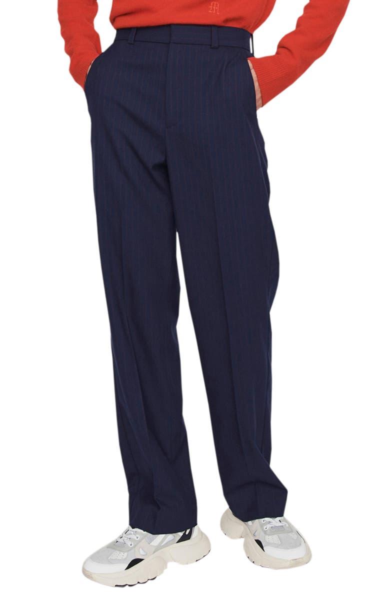 MAJE Pidaia Pinstripe Straight Leg Pants, Main, color, NAVY
