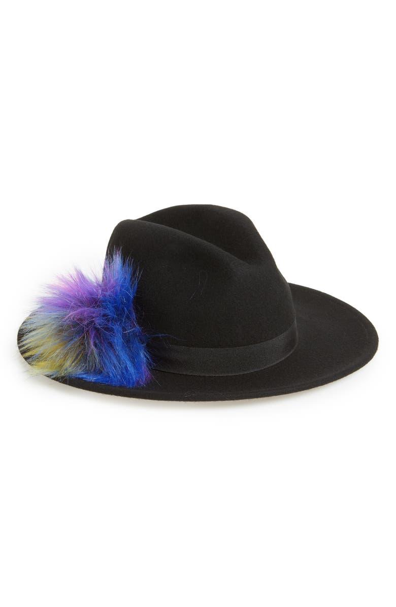 BP. Faux Fur Pompom Fedora, Main, color, 001