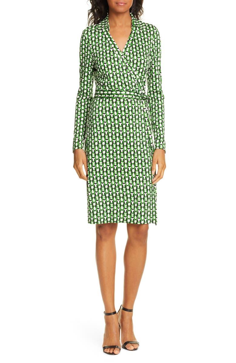 DVF New Jeanne Two Long Sleeve Silk Wrap Dress, Main, color, VINTAGE TRELLIS LAWN