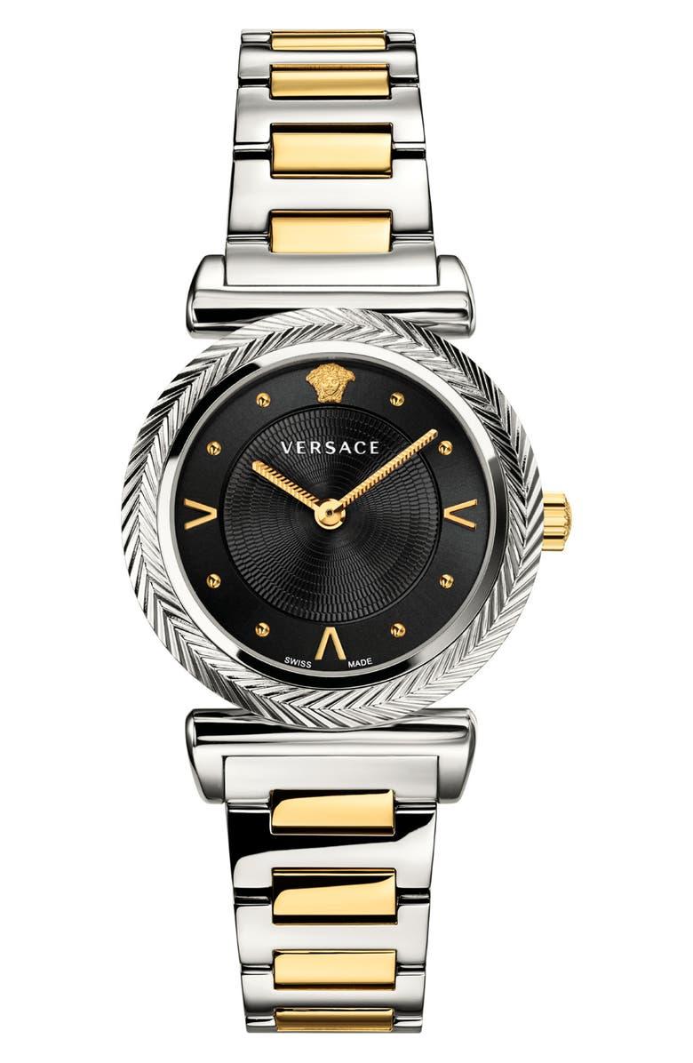 VERSACE V Motif Bracelet Watch, 35mm, Main, color, SILVER/ BLACK/ GOLD