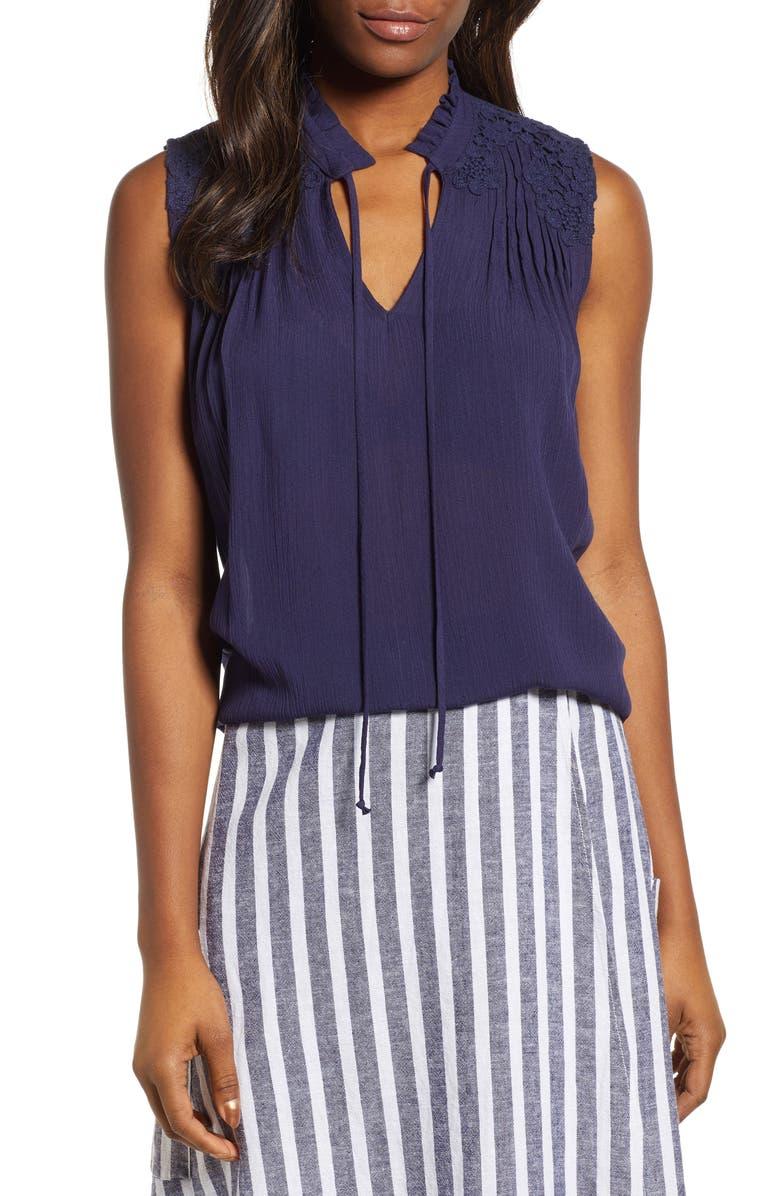 CASLON<SUP>®</SUP> Lace Appliqué Top, Main, color, 401