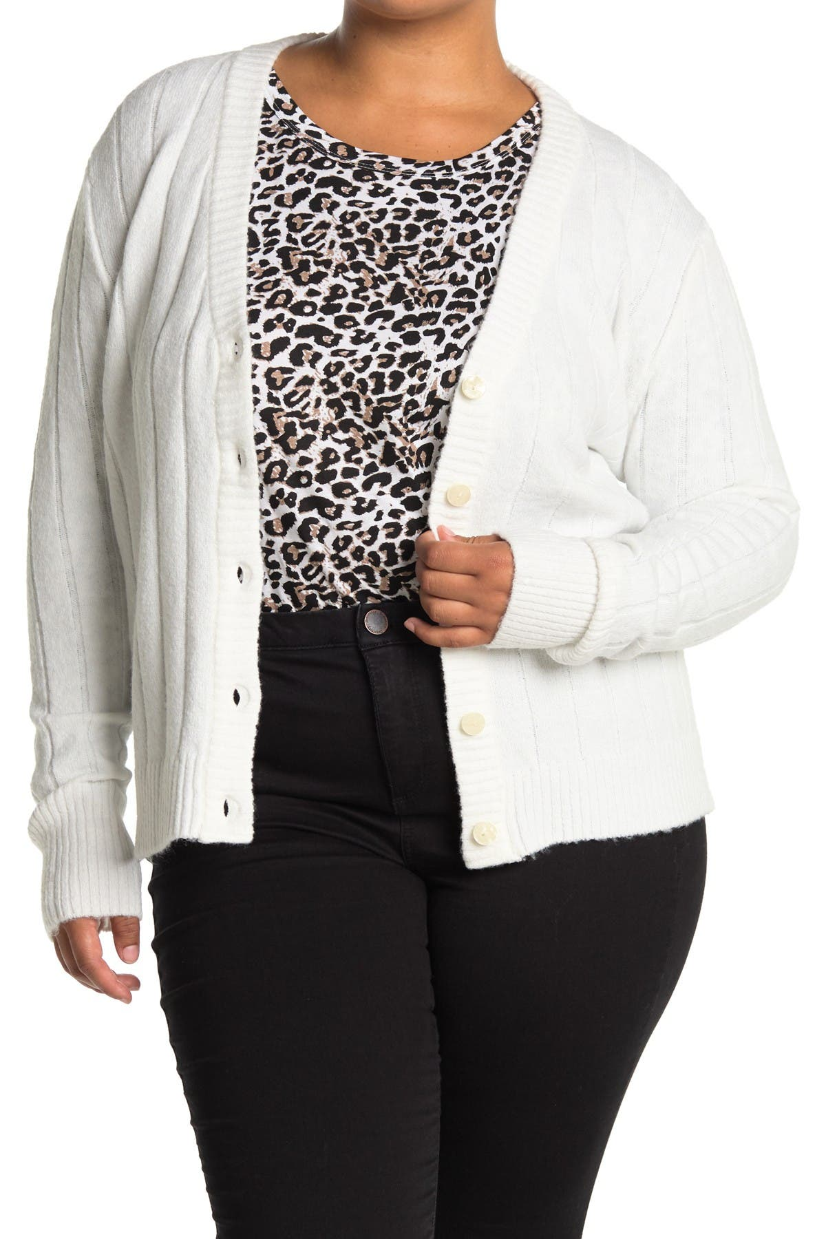 Image of Sweet Romeo V-Neck Button Front Ribbed Cardigan