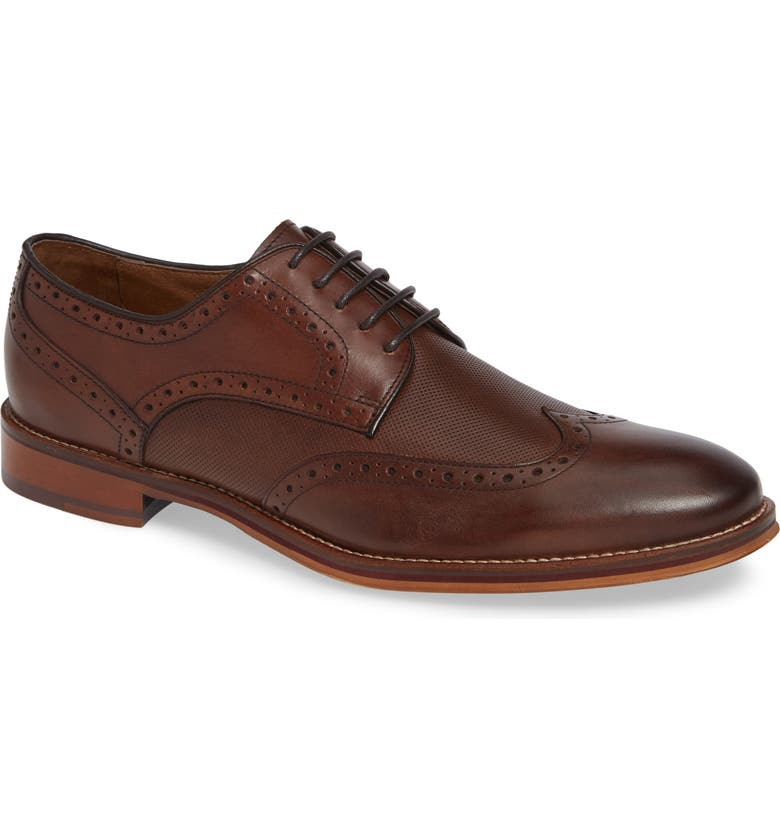 JOHNSTON & MURPHY Conard Embossed Wingtip, Main, color, OAK LEATHER