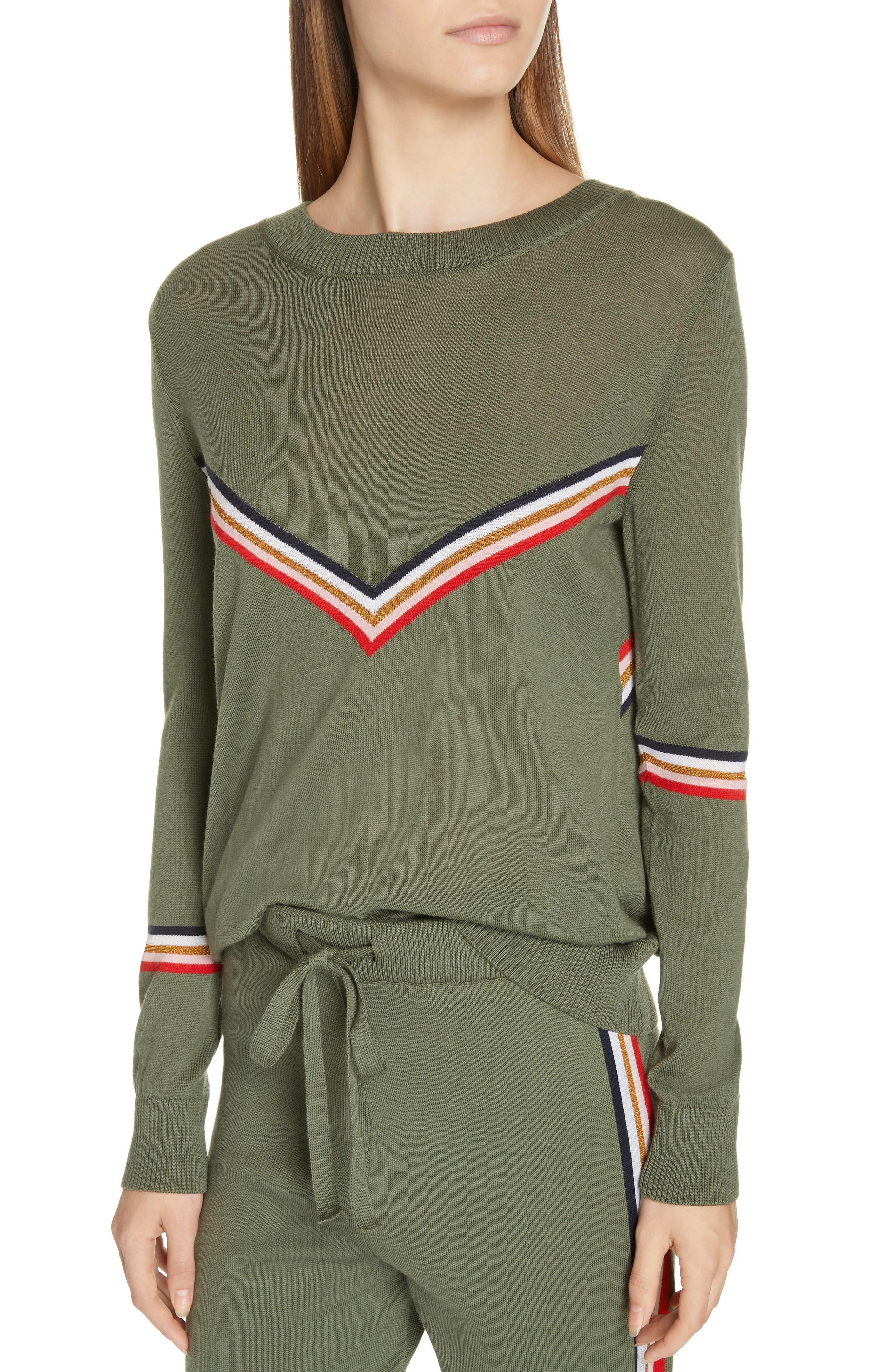 ,                             Chevron Stripe Sweater,                             Alternate thumbnail 4, color,                             KHAKI