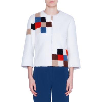 Akris Punto Pixel Reversible Genuine Shearling Jacket, White