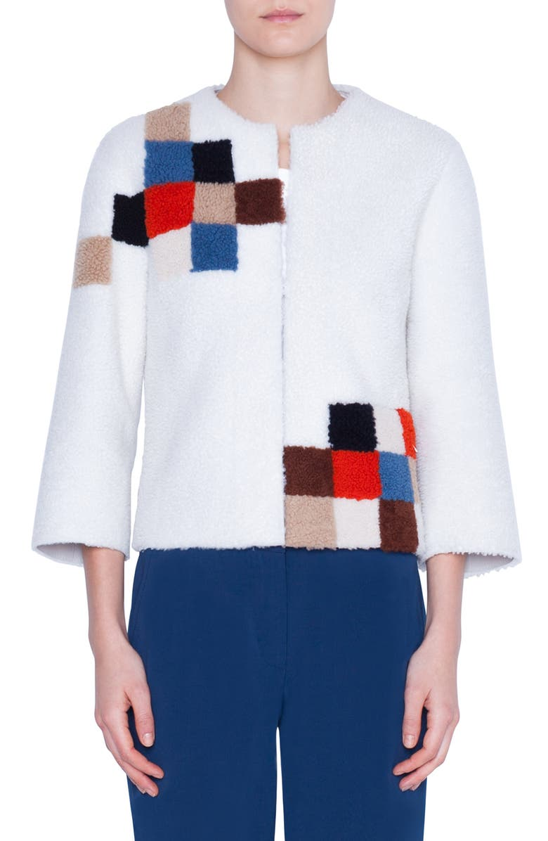 AKRIS PUNTO Pixel Reversible Genuine Shearling Jacket, Main, color, CREAM PIXELINTASIA