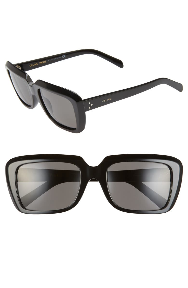CELINE 57mm Square Sunglasses, Main, color, SHINY BLACK/ BLACK